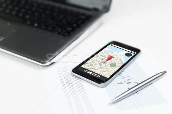 close up of smartphone with gps navigator map Stock photo © dolgachov
