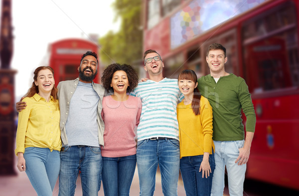 international group of people over london city Stock photo © dolgachov