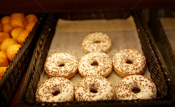 close up of donuts at bakery or grocery store Stock photo © dolgachov