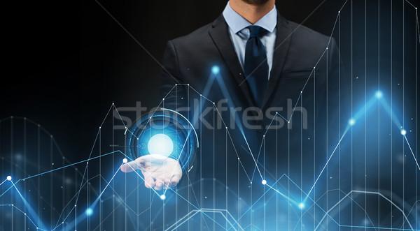 Foto stock: Empresario · virtual · diagrama · tabla · proyección · negocios