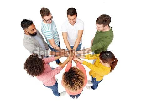 Stockfoto: Internationale · groep · vrouwen · handen · samen · diversiteit