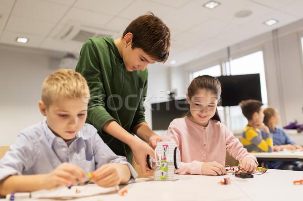 счастливым детей здании робототехника школы Сток-фото © dolgachov