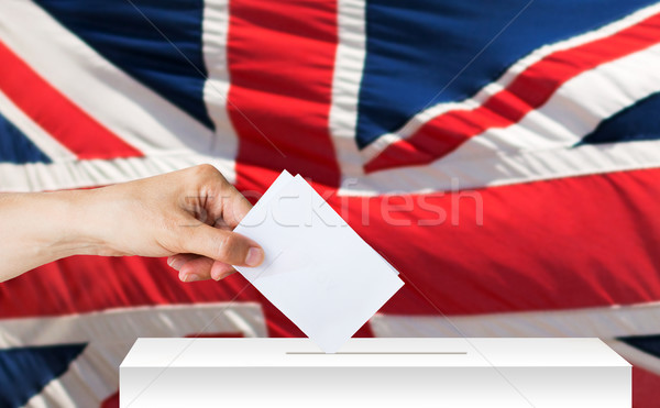 hand of englishman with ballot and box on election Stock photo © dolgachov