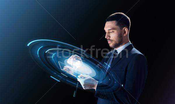 бизнесмен виртуальный проекция деловые люди современных Сток-фото © dolgachov