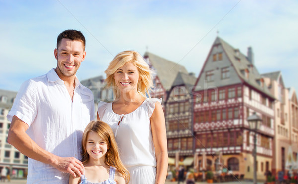 Boldog család Frankfurt délelőtt fő- turizmus utazás Stock fotó © dolgachov