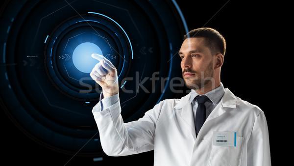 Doktor bilim adamı sanal projeksiyon bilim gelecek Stok fotoğraf © dolgachov
