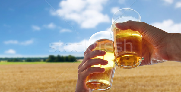 male hands clinking beer glasses over cereal field Stock photo © dolgachov