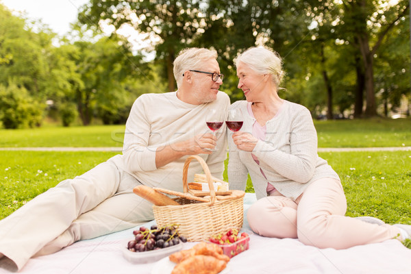 Szczęśliwy starszy para piknik lata parku Zdjęcia stock © dolgachov
