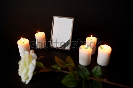photo frame and coffin at funeral in church Stock photo © dolgachov
