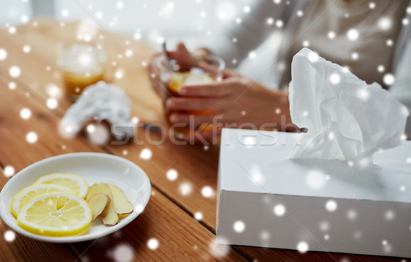 Papel cuadro limón jengibre placa salud Foto stock © dolgachov