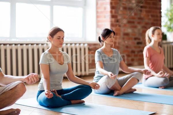 group of women making yoga exercises at studio Stock photo © dolgachov