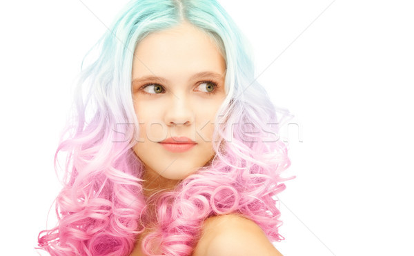 teen girl with trendy colorful gradient dyed hair Stock photo © dolgachov
