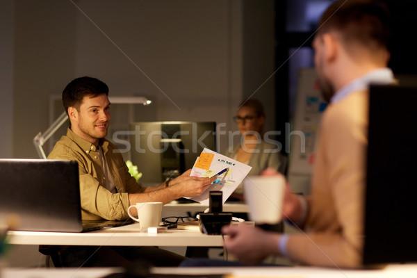 коллеги проект поздно служба бизнеса Сток-фото © dolgachov