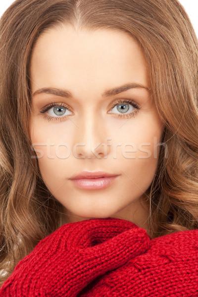 Mooie vrouw wanten heldere foto vrouw winter Stockfoto © dolgachov