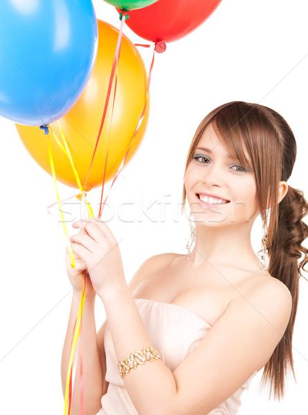 Zdjęcia stock: Szczęśliwy · balony · biały · kobieta · strony