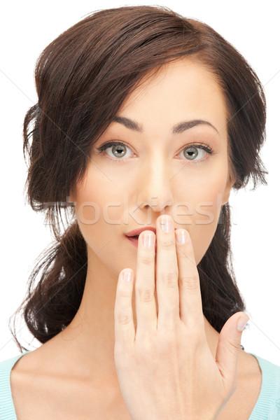 Kadın el ağız parlak resim Stok fotoğraf © dolgachov