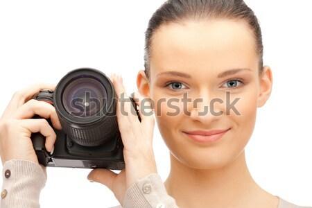 Fotocamera digitale foto felice donna teen Foto d'archivio © dolgachov