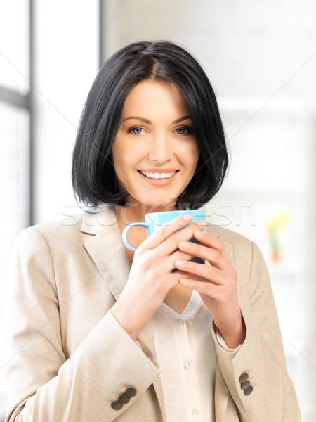 Geschäftsfrau mug hellen Bild Frau glücklich Stock foto © dolgachov
