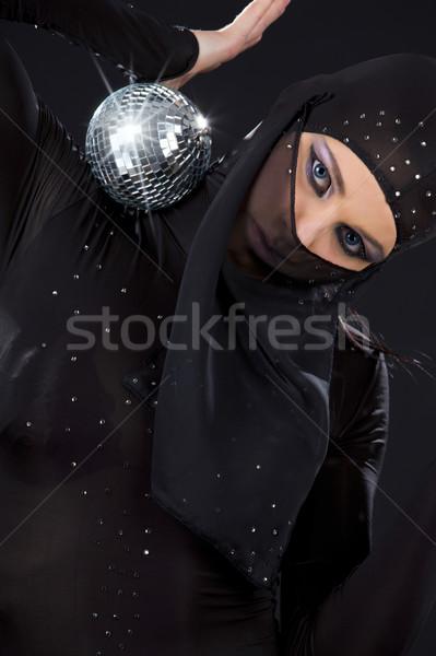 Ninja festa dançarina vestir discoball mulher Foto stock © dolgachov