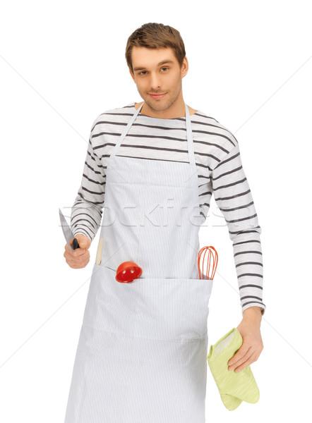 handsome man with knife Stock photo © dolgachov