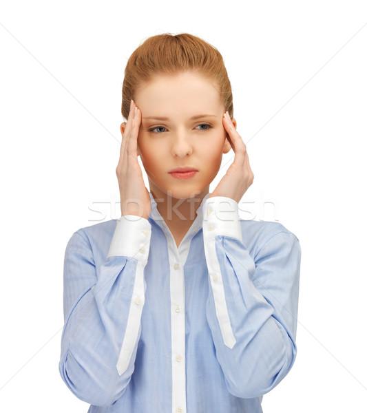 Hangsúlyos nő tart fej kezek szomorú Stock fotó © dolgachov