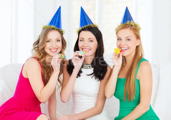 üç gülen kadın Stok fotoğraf © dolgachov