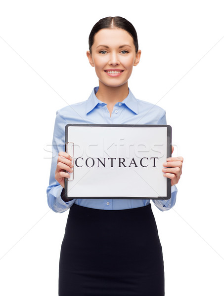 smiling businesswoman with with contract Stock photo © dolgachov