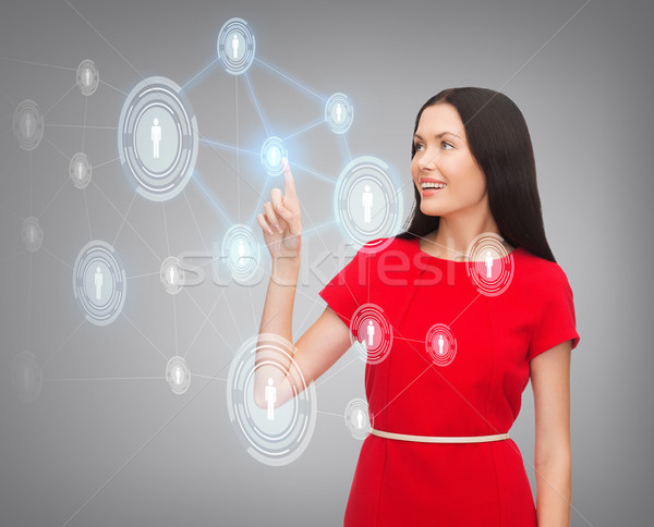 женщину красное платье Бизнес-сеть бизнеса связи будущем Сток-фото © dolgachov