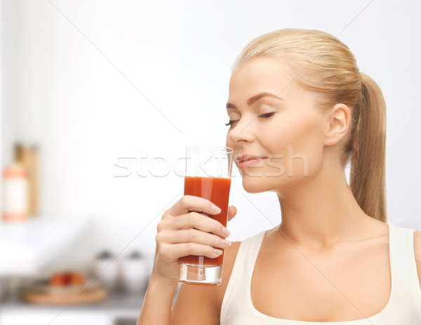 若い女性 飲料 トマトジュース 健康 食品 ダイエット ストックフォト © dolgachov