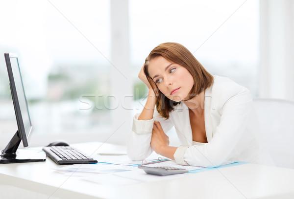 устал деловая женщина компьютер документы бизнеса образование Сток-фото © dolgachov