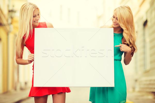 Kettő boldog szőke nő nők fehér tábla nyár Stock fotó © dolgachov