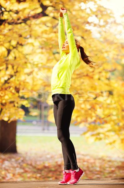 Stock photo: woman doing yoga outdoors