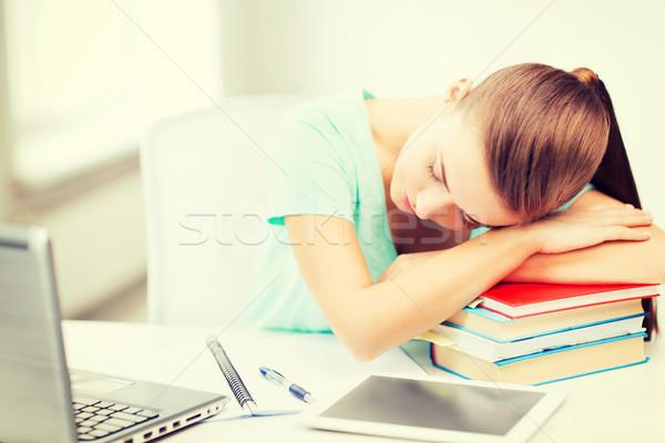 Fáradt diák alszik stock könyvek oktatás Stock fotó © dolgachov