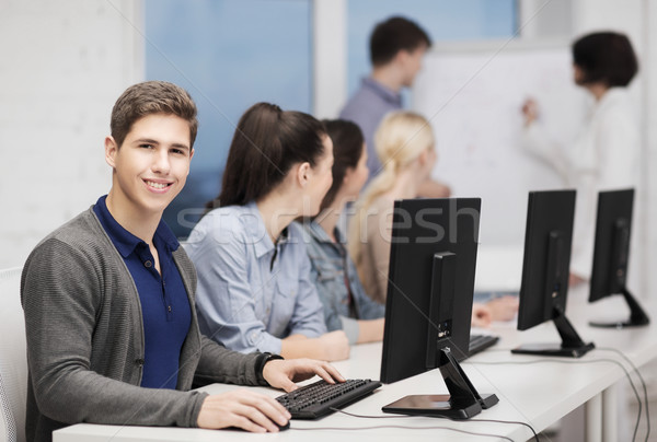 students with computer monitor at school Stock photo © dolgachov