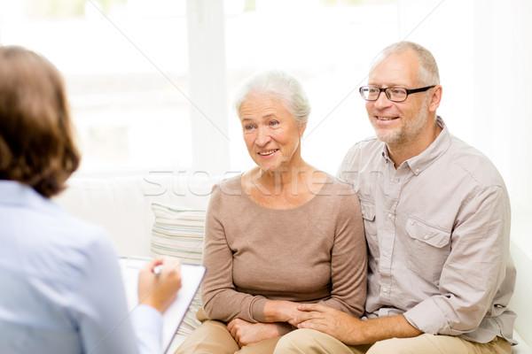 Stock photo: happy senior couple at home