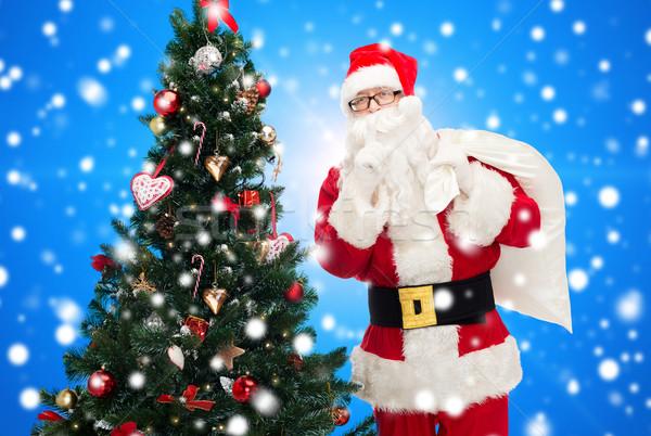 Kerstman zak kerstboom christmas vakantie mensen Stockfoto © dolgachov