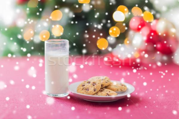 Stockfoto: Cookies · melk · glas · tabel · vakantie