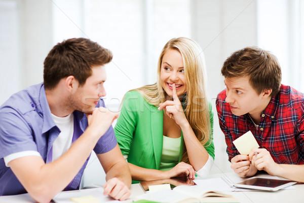 Csoport diákok pletykál iskola oktatás boldog Stock fotó © dolgachov