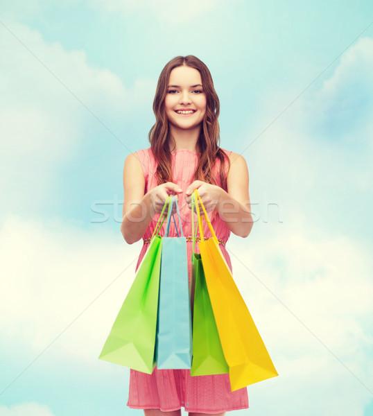 笑顔の女性 ドレス 多くの ショッピングバッグ 小売 販売 ストックフォト © dolgachov