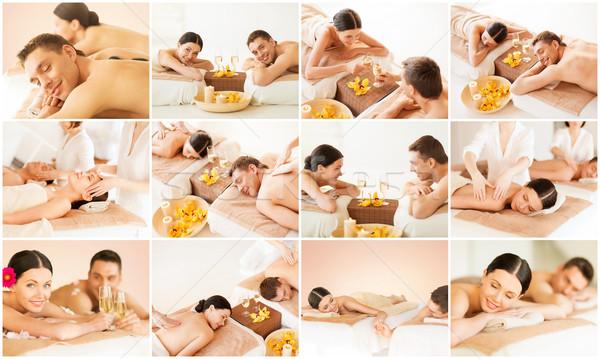 Glückliche Familie Paar spa Salon Gesundheit Schönheit Stock foto © dolgachov