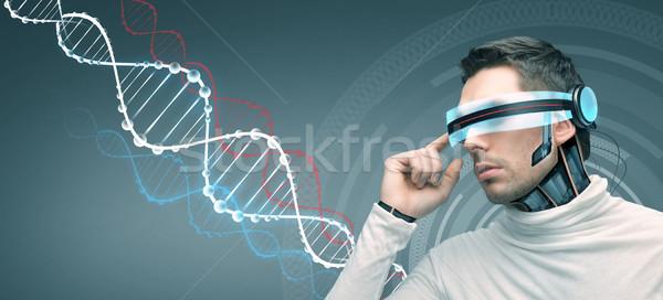 Adam fütüristik 3d gözlük insanlar teknoloji gelecek Stok fotoğraf © dolgachov