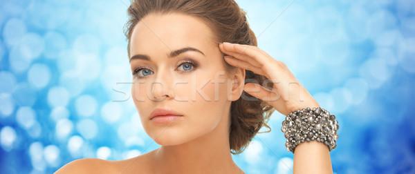 Gyönyörű nő kék fények szépség luxus emberek Stock fotó © dolgachov