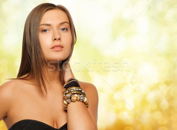 Bella donna giallo luci bellezza lusso persone Foto d'archivio © dolgachov