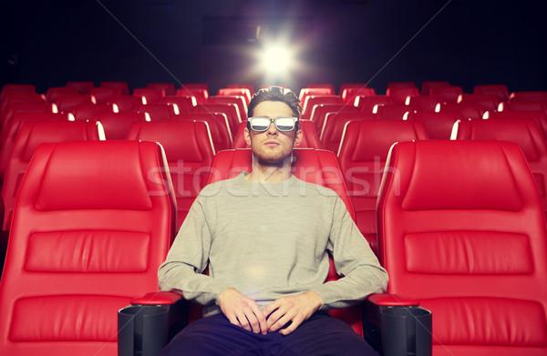 Giovane guardare film 3D teatro cinema Foto d'archivio © dolgachov
