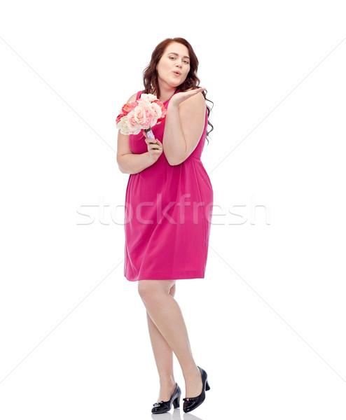 Boldog fiatal plus size nő virág köteg Stock fotó © dolgachov