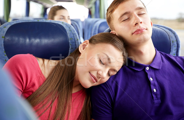 Stockfoto: Gelukkig · paar · passagiers · slapen · reizen · bus