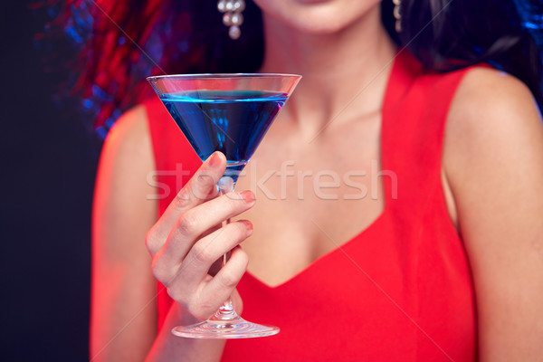close up of woman with cocktail at nightclub Stock photo © dolgachov