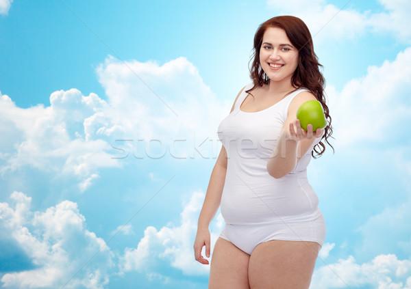 ストックフォト: 幸せ · プラスサイズ · 女性 · 下着 · リンゴ