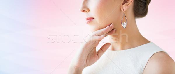 Photo stock: Belle · femme · visage · boucle · glamour · beauté