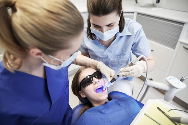 Foto stock: Feminino · dentistas · paciente · menina · dentes · pessoas